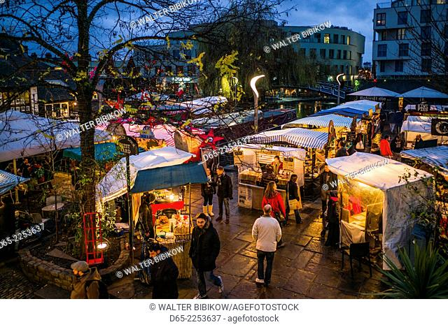 England, London, Camden, Camden Market, outdoor food court, dusk