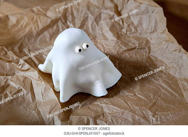 Ghost Cupcake with White Fondant