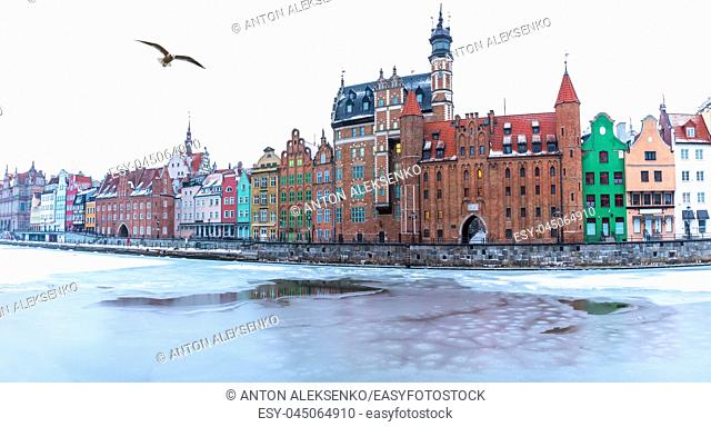 Gdansk winter panorama, view on Mariacka Gate from the Motlawa