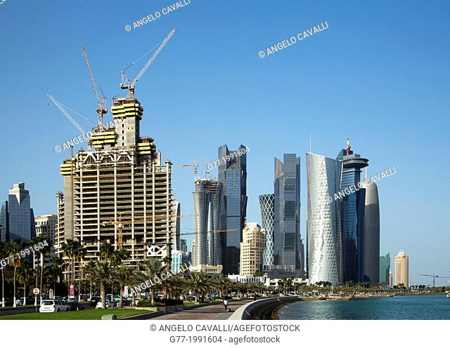 New construction site in modern Doha, Qatar