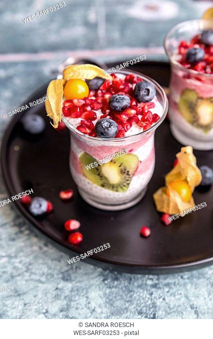 Glass of chia pudding with several fruits