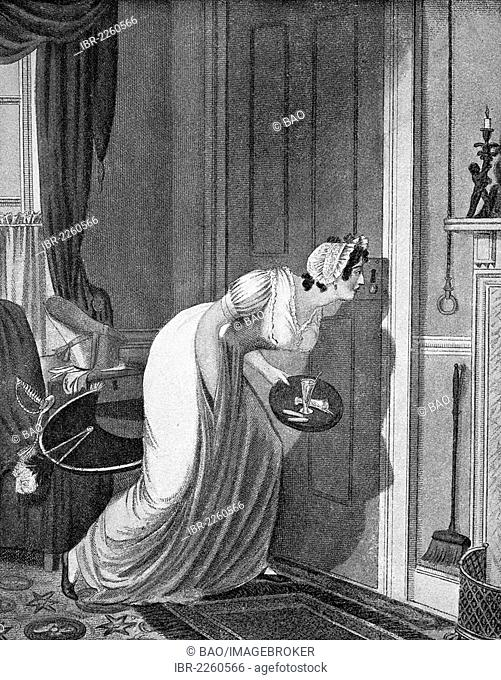 Curious woman peeking through a keyhole, anonymous copper engraving around 1810