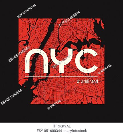 New York addicted t-shirt and apparel vector design, print, typography, poster, emblem