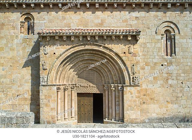 Entrance of San Pedro collegiate, in Cervatos village, Campoo de Enmedio, considered as one of the most important romanesque churches of Cantabria and specially...
