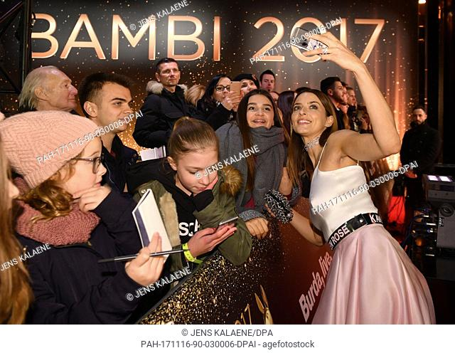 Model Eva Padberg arrives for the 69th Bambi Award Ceremony in Berlin, Germany, 16 November 2017. She is depicted greeting her fans, taking pictures with them