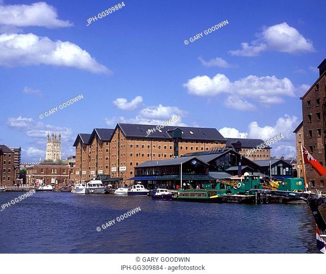 View of Gloucester Cathedral from the Historic Docks