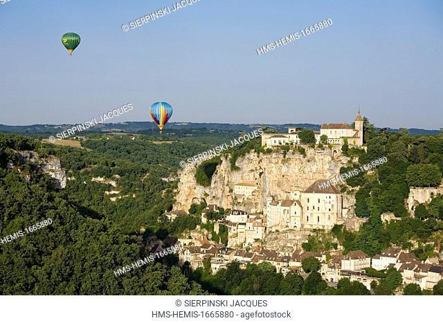 France, Lot, Haut Quercy, Rocamadour, a stop on el Camino de Santiago, hot air balloon