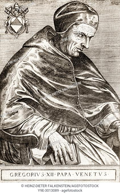 """Gregory XII, c. â. ‰1326 â. """" 18 October 1417, Pope from 30 November 1406 to 4 July 1415"""
