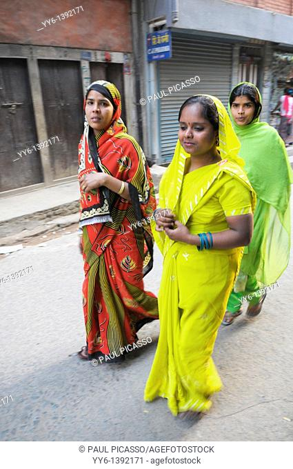 nepalis ladies , early morning in kathmandu, nepal