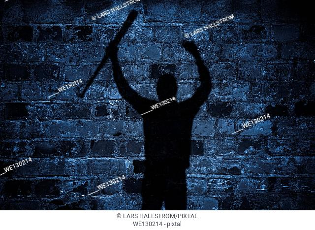 Shadow of protester with baseball bat and raised arms on brick wall at night