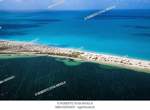 Aerial view of the turquoise caribbean sea framed by fine sand beaches Barbuda Leeward Islands West Indies