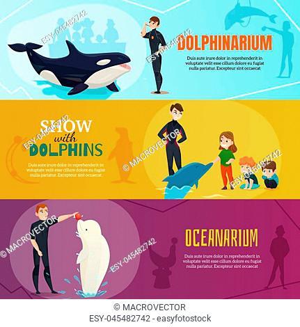 Dolphinarium show horizontal banners set with oceanarium symbols flat isolated vector illustration