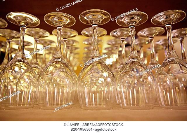 Wine glasses, Restaurant, Gijón, Asturias, Spain