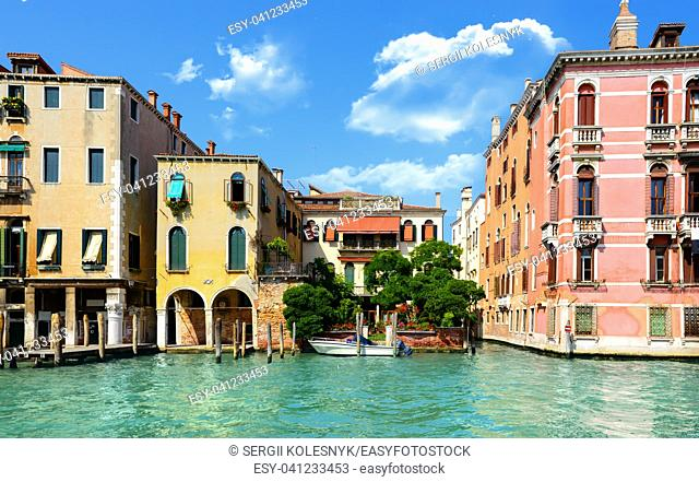 Sunny summer day in romantic Venice, Italy