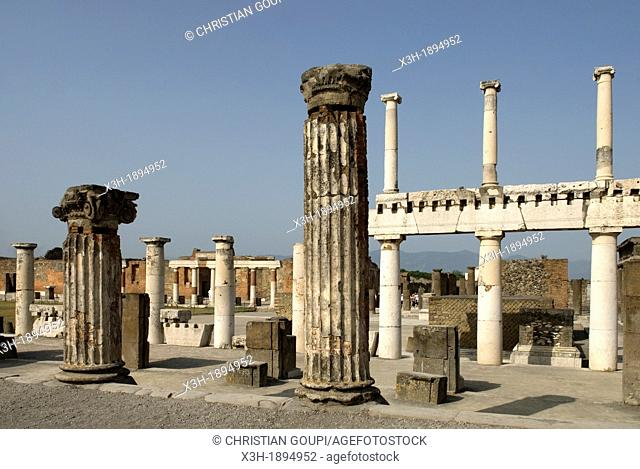 columns surrounding the Forum, archeological site of Pompeii, province of Naples, Campania region, southern Italy, Europe