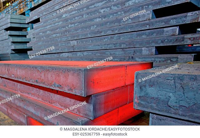 Hot slab inside of steel plant