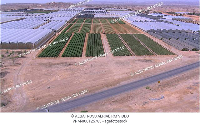 Aerial photograph of the Agriculture greenhouses of the Negev