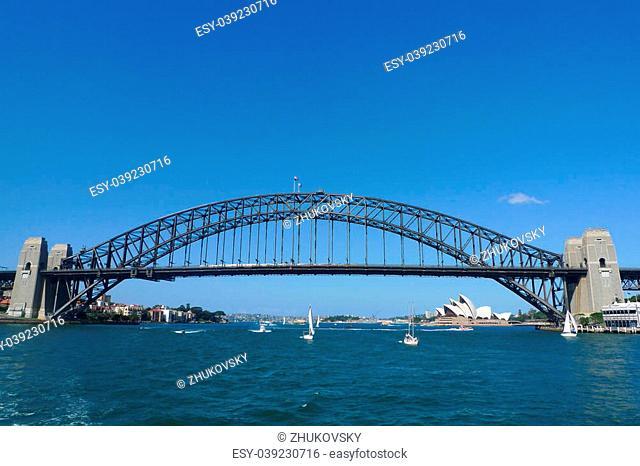 The famous Harbour bridge and Opera House in Sydney, Australia. Until 1967 the Harbour Bridge was Sydney's tallest structure