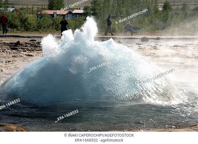 Strokkur fountain geyser, Haukadalur valley, Iceland