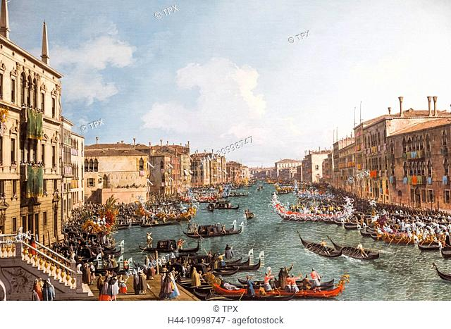 England, London, Trafalgar Square, National Gallery, Painting titled A Regatta on the Grand Canal by Canaletto dated 1740
