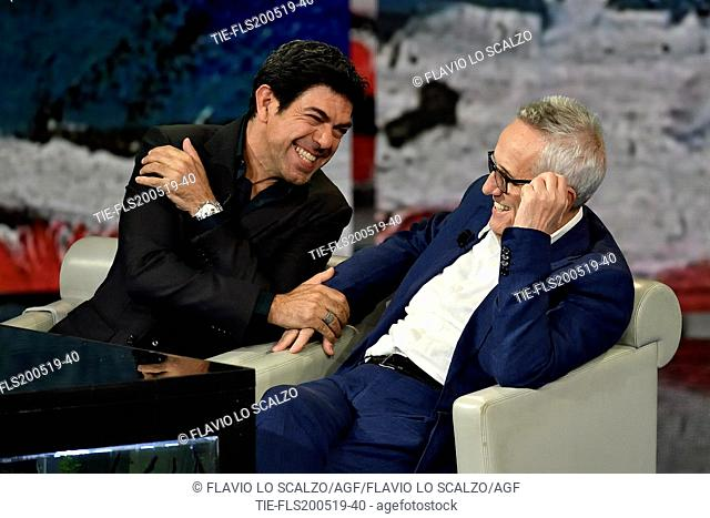 Italian actor Pierfrancesco Favino, Italian director Marco Bellocchio during the tv show Che tempo che fa, Milan, ITALY-19--05-2019
