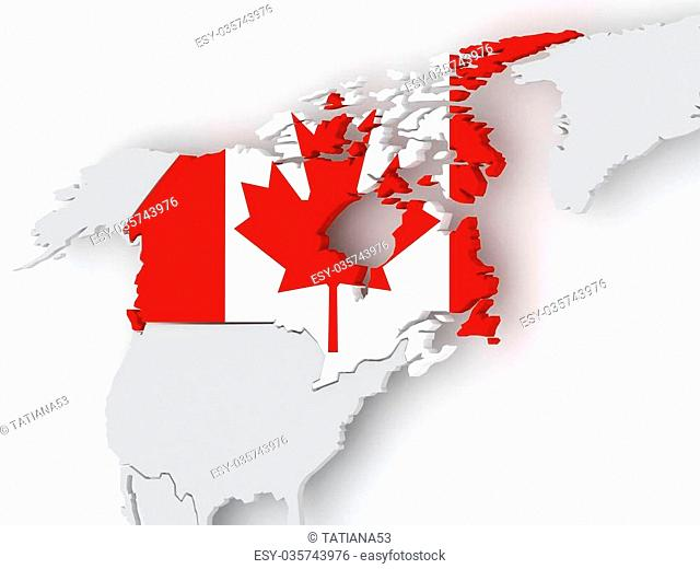 Map of worlds. Canada. 3d