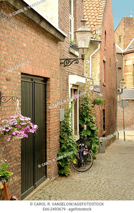 Side street with cobblestones in the old city of Maastricht, Limburg, the Netherlands