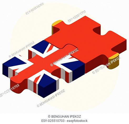 United Kingdom and Montenegro Flags in puzzle isolated on white background
