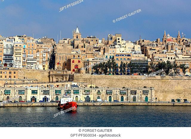 THE DOCKS AND THE VICTORIA GATE, VALLETTA, MALTA