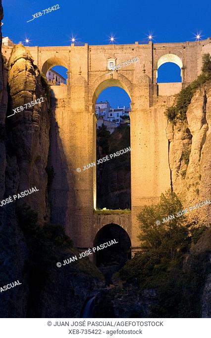 'Tajo' gorge and Puente Nuevo (new bridge), Ronda. Malaga province, Andalucia, Spain