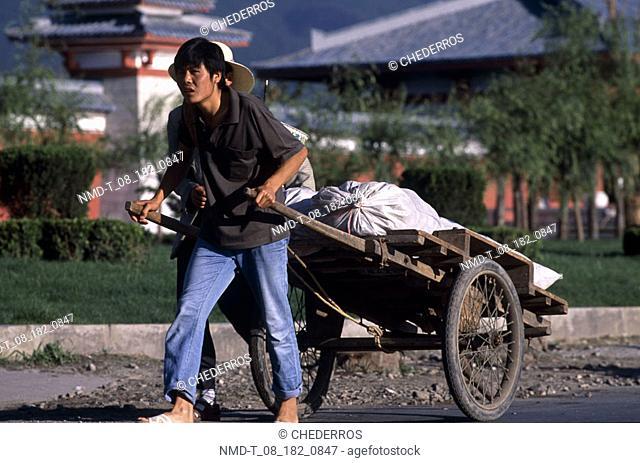Young man pulling a cart, China