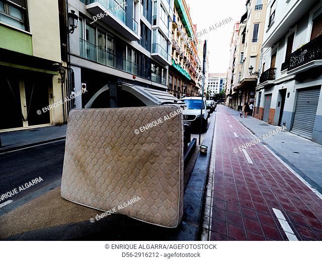 Mattress in the street, Valencia, Spain