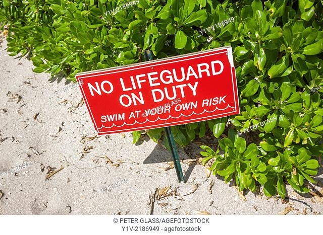 "Sign at the beach reading, """"No lifeguard on duty"""""