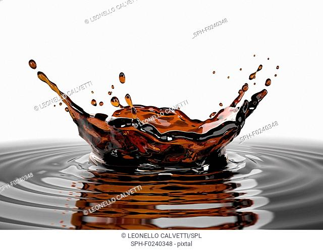 Liquid coffee crown splash in coffee pool with ripples. close up view. On white background