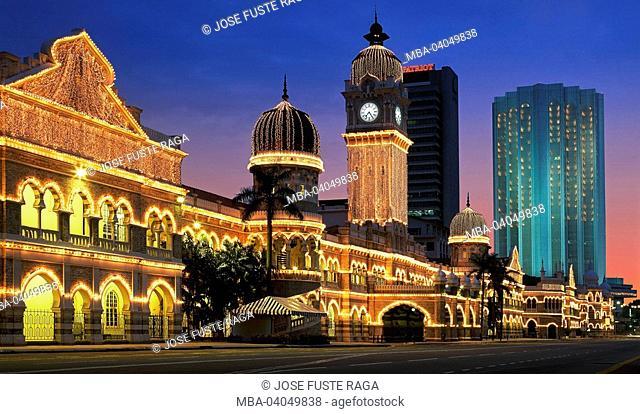 Malaysia, Kuala Lumpur, Merdeka Square, sultan Abdul Samad Building, lights up, evening