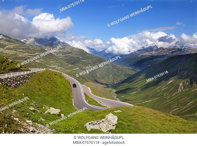 Road on Furka Mountain Pass, Uri Alps, cantonal border, Cantons of Uri and Valais, Switzerland