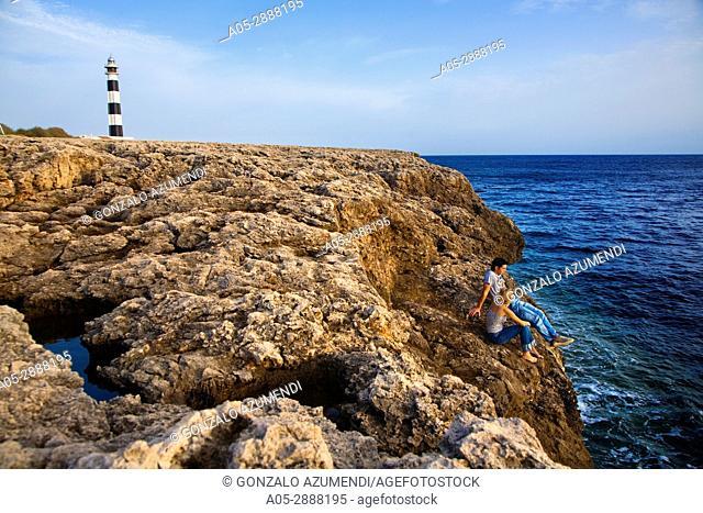 Lighthouse in Artrutx Cape. Minorca. Balearic Islands. Spain . Faro en Cap d'Artrutx. Menorca. Islas Baleares. Spain