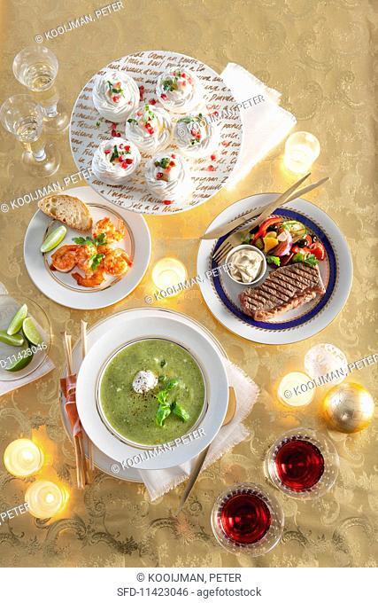 A four-course, Mediterranean Christmas meal