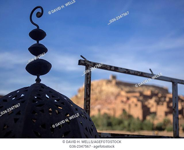 Ironwork and metal fence, near ancient city of Ait Ben Haddou, Morooco
