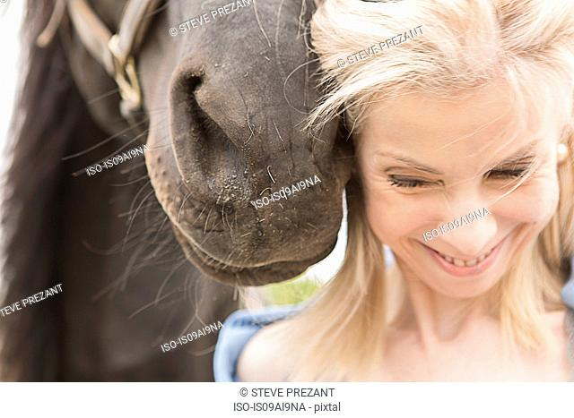 Cropped close up of horse and mature woman