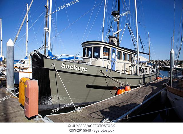 Vintage boat, Port Boat Haven, Port Townsend, State of Washington, USA, America