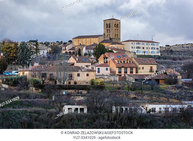 Sepulveda town in Province of Segovia, Castile and Leon autonomous community in Spain, view with Nuestra Senora de la Pena Church