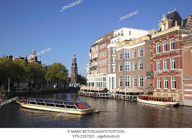 Amsterdam city centre towards Rokin and the Mint Tower