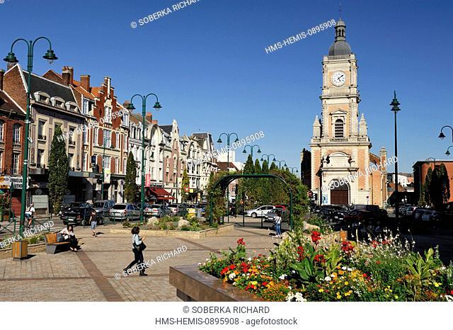 France, Pas de Calais, Lens, Place Jean Jaures and St Leger Church