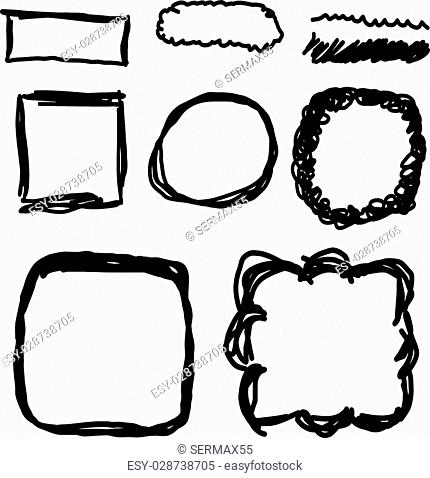Vector hand drawn frames, lines, circle and bubble collection