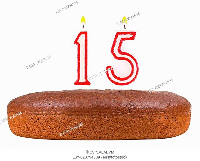 Birthday Cake With Candles Number 15 Isolated