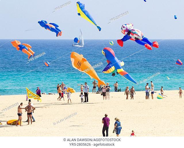 International Kite Festival, Corralejo beach, Fuerteventura, Canary Islands, Spain