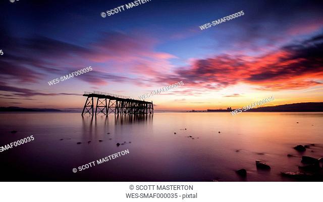 United Kingdom, Scotland, View of sea with pier
