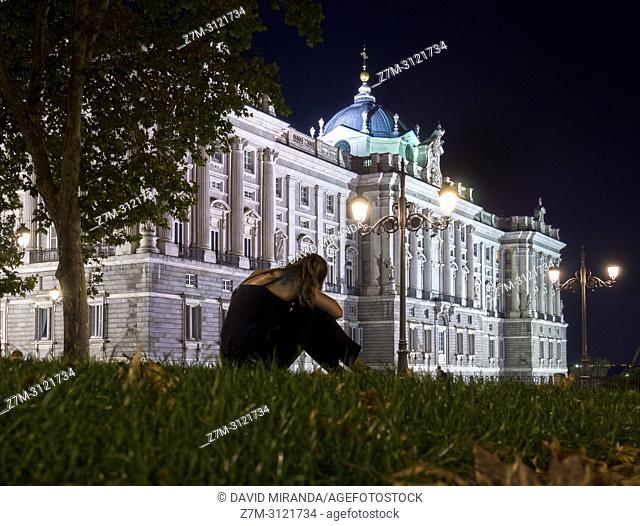Nigt view of the Royal Palace. Madrid, Spain