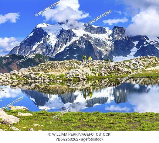 Hikers Mount Shuksan Pool Reflection Summer Artist Point Mount Baker Highway Pacific Northwest Washington State Snow Mountain Grass Trees